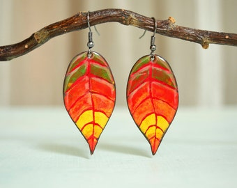 Autumn Cherry Leaf, Fall, Autumn Leaves, Autumn Day, Autumn Earrings, Sunny, Leaf Earrings, Cherry, Cherry Jewelry, Leaf Jewelry