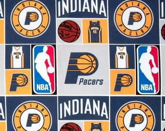 NBA Fabric - NBA Sports Broadcloth Indiana Pacers Patch 100% cotton Fabric by the yard , C395
