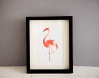 "Flamingo Watercolour Print // 5x7"" / 6x8"" / 8x10"" // Charity Flamingo Print"