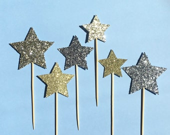 Star Cupcake Toppers | Twinkle Twinkle Little Star Cupcake Toppers | Baby Shower Cupcake Toppers | To The Moon and Back Shower Decoration