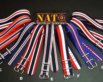 NATO G10 ® Red, White, Blue, Ballistic Nylon Watchband Military watchband watchstrap 20mm NATO Straps natoband