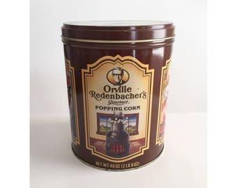 Vintage Orville Redenbacher Tin, 1980s Popcorn Tin, Vintage Tin