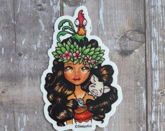 Island Girl and friends 3 Inch Vinyl Sticker (Inspired by Disney Moana and her Piggy friend Pua and Rooster Friend Hei Hei)