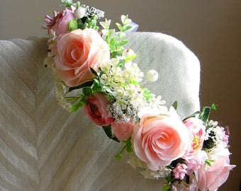 Pink floral crown Flower headband Hair Vine Bridal headband Flower crown Flower wreath Hair band Headwear Festival Garland Wedding circlet