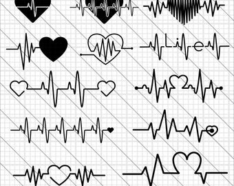 Heartbeat Silhouettes SVG, heartbeat clipart,heartbeat svg Cut File,DXF,PNG Use with Silhoutte Studio & Cricut Instant Download
