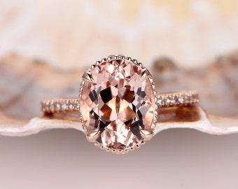 Oval Natural Pink Morganite Ring,9x11mm Oval Shape Morganite engagement ring,Vintage Floral Setting,solid 14k Rose gold band,Rose gold ring