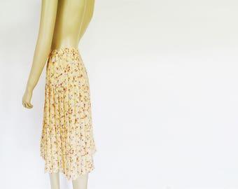Pleated Skirt, UK10, 1995, Midi Skirt, Sand Coloured, Hippy Skirt, Boho Skirt, Pleated Midi Skirt, Floral, Festival Clothing, Girly Skirt