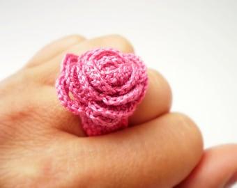 Crochet flower ring purple orange yellow Fuchsia pink cotton Mint