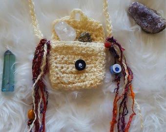 Crochet medicine bag, crystal pouch, necklace, hippie