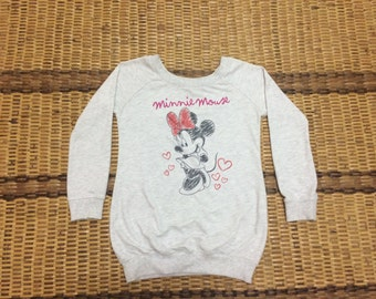 Vintage 90's Hollywood Minnie Mouse Walt Disney Cartoon Classic Design Skate Sweat Shirt Sweater Varsity Jacket Size M #A557