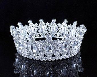 Stunning Full Crown Clear Austrian Crystal Rhinestone Tiara Pageant Bridal - Glittery Clear Queen Crown - Sparkly Crystal Wedding Diadem
