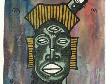 Handpainted contemporary west African oil painting
