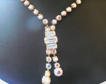 sparkling Aurora Borealis crystal dropper necklace with baguette cut stones and pretty clasp