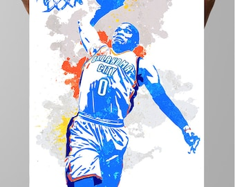 Fan art poster, Russell Westbrook Oklahoma City Thunder, Wall art Poster