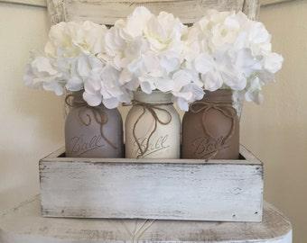 Mason Jar Decorative Tray's, Centerpieces, Wedding Decor, Housewarming