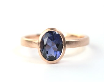 Ring Rosé gold with Iolite gemstone blue 585 gold unique fresh design jewelry hand made in Germany engagement