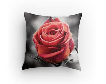 Red Rose Photo Throw Pillow