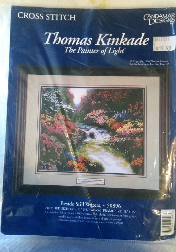 Beside Still Waters Counted Cross Stitch Kit by Thomas Kinkade the Painter of Light / CANDAMAR DESIGNS