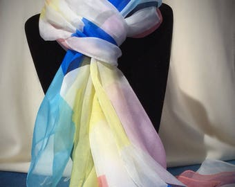 Blue, Coral, Yellow Abstract Pattern Silk Scarf