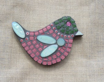 Mosaic Bird - Pink with Green