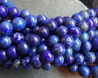 8mm Lapis Lazuli Natural Undyed Gemstone Beads Full Strand