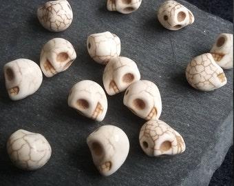 20 Small White Synthetic Howlite 3D Skull Beads