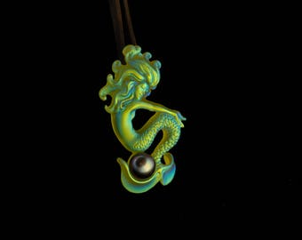 Pate de verre, cast glass, lime green, gold, 10 mm pearl, Mermaid, pendant similar to Lalique style