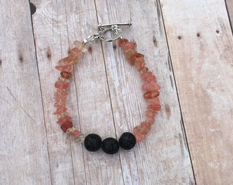 Cherry Quartz Essential Oil Diffuser Bracelet Lava Bead Gemstone Chips Bracelet Doterra Bracelet Diffuser Bracelet