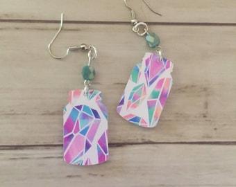 Mason Jar Dangle Bling Diamond Vinyl Acrylic Earrings