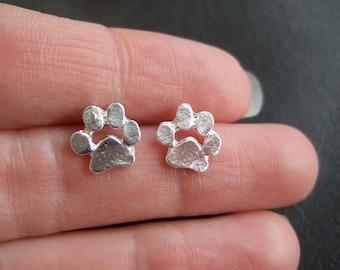 Cute little paw print earrings, silver plated cat paw studs, small dog paw print earrings silver, kawaii earrings, shiny silver paw studs