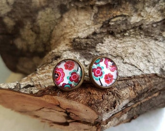 Pink & Aqua Floral - 12mm Cabochon earrings featuring glass dome on antique bronze stud earrings
