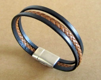 Bracelet braided black/Camel leather, 10MM magnetic silver plated clasp
