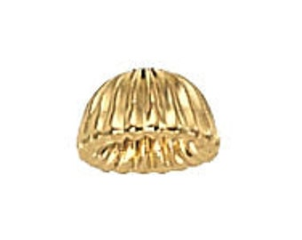 6.5mm Gold Filled Corrugated Cap Beads 14/20kt.