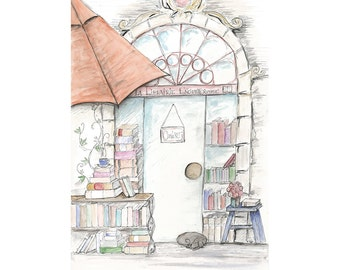 Book Shop (La Librairie Enchanteresse) - Wall Art Print French-Themed