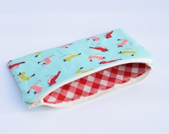 Bird Lined Zipper Pouch Cosmetic Bag Pencil Pouch
