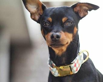 Billy Bad Ass Dog Collar / Adjustable Dog Collar / Red Blue Orange White Gray Grey Checkered Dog Collar