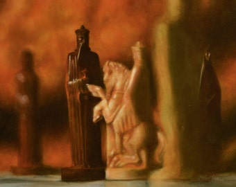 "painting still life: ""checkmate""- chess pieces & board"