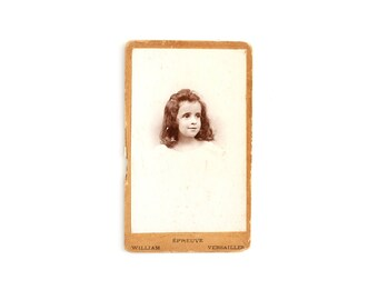 1928 French Antique Cabinet Card/Photo Studio Portrait of a Little Girl - Versailles