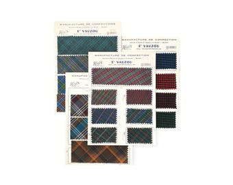 "1962 Vintage French ""Vauzou"" Fabric Swatches"