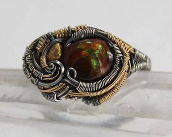 Ring size 11 with fire agate and gold nugget in oxidized sterling silver and 14/20 gold fill