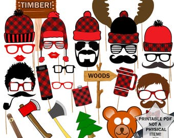 "Lumberjack Photo Booth Props: ""PARTY PHOTO PROPS"" Lumberjack props Party supplies Printable pdf Lumberjack printable lumberjack party"
