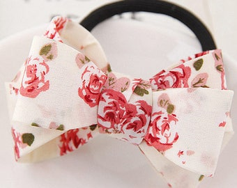 Red Floral Bow knot Hair Tie