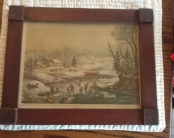 Vintage Framed Print Winter in the Country