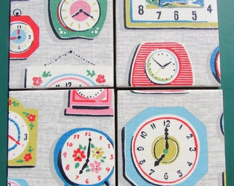 CATH KIDSTON Shabby Chic - Set of Ceramic Coasters - Clocks Grey - Fabric - Handmade