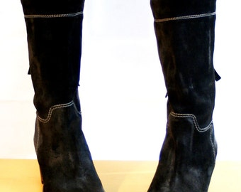Black Suede Boots, Leather Boots, Women Boots, Size 7.5, female, Real Suede, leather, Antiqued Leather black, size 38