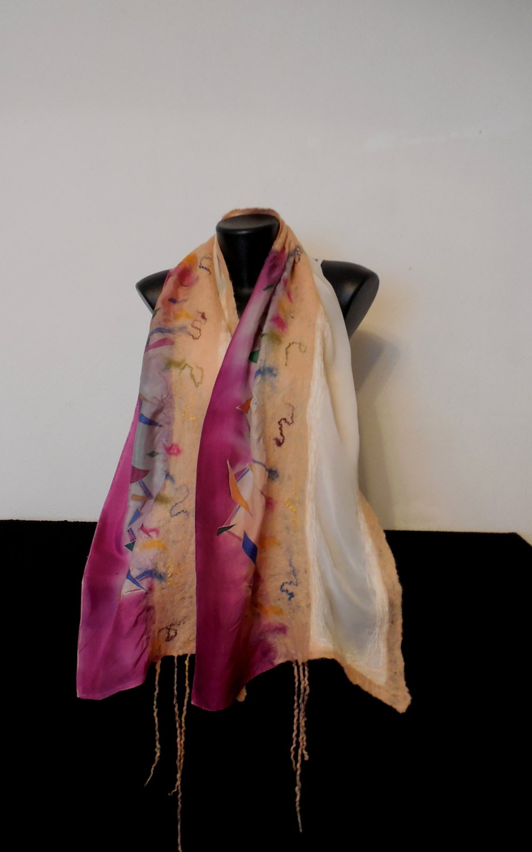 nuno felted scarf white and purple wrap felting silk shawl with geometric shapes