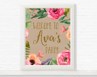 Garden Party Welcome Sign, Floral Welcome Sign, Girls Birthday Party Sign, Rustic Garden Party Sign, Welcome to party sign, floral door sign