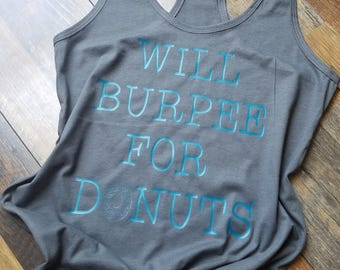 Womans workout tank top - Workout clothes - Razorback tank top - Donut tank top - Gym Clothes - Donut Gym Clothes - Funny Gym Shirts
