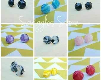 NEW Marble Hypoallergenic Titanium Stud Earrings Handmade Sensitive Ears 7 Colours