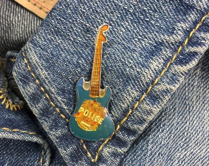 "Vintage ""Police"" Guitar Lapel Pin (stock# 719)"
